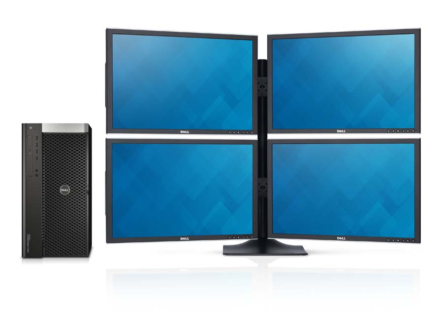 Dell Precision T7610 fixed tower workstation with quad 2408wfp monitors.